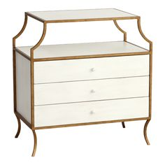 Redford House  // Milla Side Table w/ Drawers in Antique Gold with Raw Cotton Finish $1335