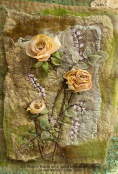 """More information under """"read my blog"""" scroll down to """"Silk ribbon embroidery on hand-felted backgrounds"""""""