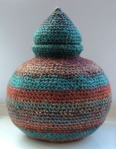 Freestanding Sculptured Crochet Pot, designed and handmade by Elvira Jane. Bowl vase