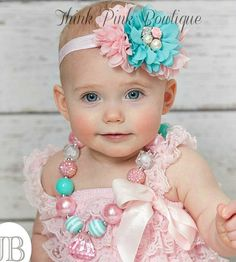SET Baby Headband and Girls Chunky Necklace ,Girls Bubblegum Chunky Necklace, Baby Headband,Girls Chunky Necklace,Easter Headband, Hair Bows