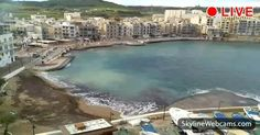 Panoramic view of Marsalforn Bay - Gozo.  Travel in Malta now thanks the live images of our cams!
