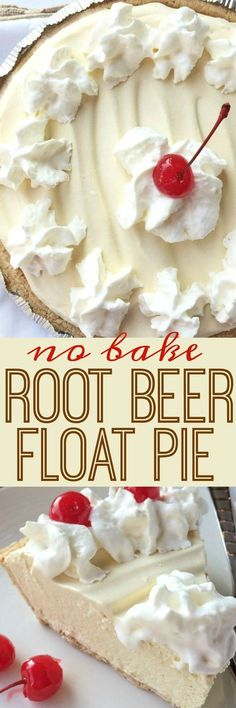 Food and Drink: Creamy, cool, light refreshing! This root beer float pie is the perfect treat on those hot sunny days. Only a few minutes of prep and then some freezer time and you have an easy, no bake pie that tastes EXACTLY like a root beer float! Beaux Desserts, 13 Desserts, Delicious Desserts, Yummy Food, Easy Summer Desserts, Light Desserts, Light Dessert Recipes, Refreshing Desserts, Easy No Bake Desserts