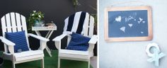 Beach chairs and chalkboard - perfect for a beach wedding!