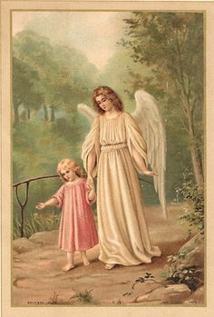 Vintage Guardian Angel | Vintage Ephemera - Guardian Angel Card | Vintage holy cards