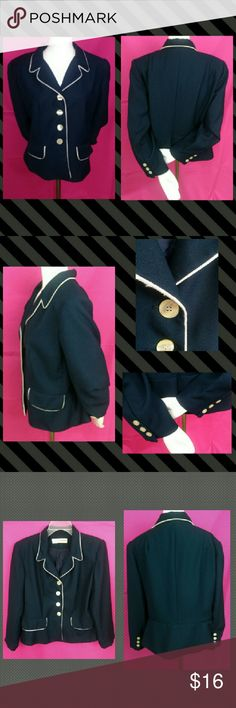 Vtg Kathryn Deene New York Navy Blazer Sz 14 Up for consideration is one Vintage Kathryn Deene New York Navy Blue & White Fully Lined Blazer Size 14. Made of polyester and acetate this cute fitted blazer has a silky inner lining and built in shoulder pads. The front is trimmed in white and has 4 pearlescent buttons. Also accenting the front are 2 faux pockets. The base of the sleeves have 3 buttons. Super work chic! No major defects to note! Slight discoloration on inner lining underarm that…