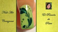 Diseño de uñas de corazones verdes- El rincón de Patri-  Green hearts Nail Art. Sigue todos nuestros diseños de decoración de uñas en http://www.rincondepatri.com
