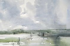 """Chris Robinson; Watercolor Painting """"Stile in flooded field"""""""