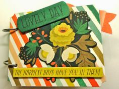 #papercraft #minialbums: This cute album, the Lovely Day Mini Book, is from Plays Well With Paper. Great #scrapbook #layout ideas!