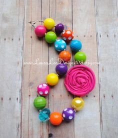 Bright Rainbow Children's Bubblegum Necklace by LauraLeeDesigns108, $15.99