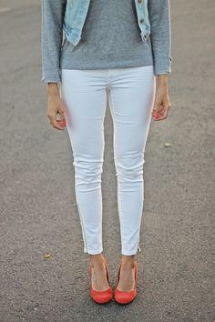poppy heels + white denim
