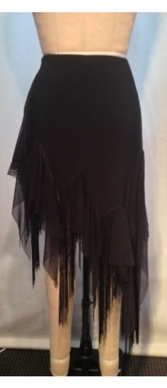 Latin skirt w/ tattered mesh and fringe