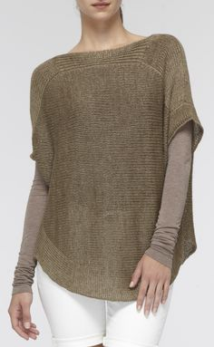 Short-Sleeve Linen Boatneck Sweater | Vince