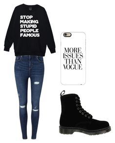 """Just Don't Care"" by fangirlmendes on Polyvore featuring Miss Selfridge, Dr. Martens and Casetify"