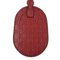 New Gucci Red Leather Micro Guccissima GG Logo Luggage Travel ID Tag