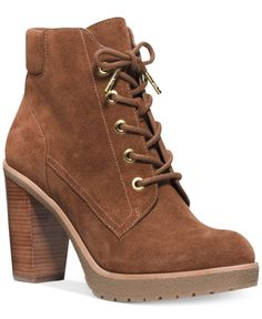 Michael Kors Kim Leather Lace Up Ankle Boot in Caramel, Size: 10 Fall Booties, Lace Up Booties, Lace Up Ankle Boots, Michael Kors Heels, Handbags Michael Kors, Buy Boots, Shoe Boots, Wedge Sandals Outfit, Camo Shoes