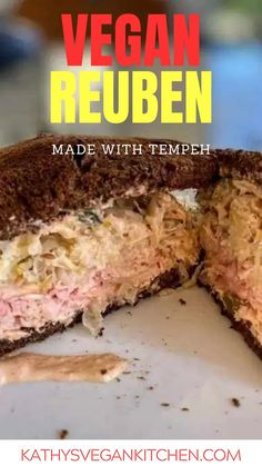 Vegan Reuben sandwich with sauerkraut and Skinny Vegan Thousand Island Dressing.  Using my two-ingredient marinade this Vegan Reuben sandwich tastes like the real thing. Vegan Lunch Recipes, Delicious Vegan Recipes, Veg Recipes, Vegan Food, Tasty, How To Cook Tempeh, Reuben Sandwich, Easy Meals, Vegan Finger Foods