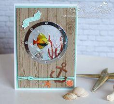 Gel Shaker Card, Seaside Shore, Hardwood background