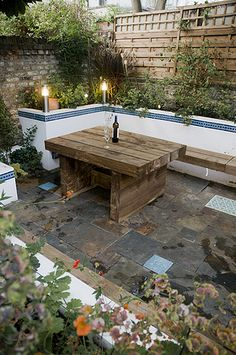 The Moroccan Courtyard Garden by Earth Designs. London Garden Design and lands Small Courtyard Gardens, Small Courtyards, Terrace Garden, Small Gardens, Outdoor Gardens, Courtyard Design, Courtyard Ideas, Court Yard Garden Ideas, Diy Garden Table