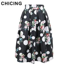 Floral Print Dots Print Pleated Midi Skater Skirt  Only $22.99 => Save up to 60% and Free Shipping => Order Now!  #Skirt outfits #Skirt steak #Skirt pattern #Skirt diy #skater Skirt #midi Skirt #tulle Skirt #maxi Skirt #pencil Skirt