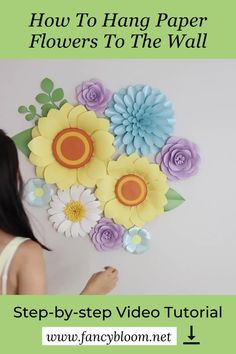 How to hang paper flowers on the wall? - this is one of the most common questions I get asked. So I made a very detailed video about it and show you step-by-step how I do it by hanging my new summer paper flower set together with you. Watch the full step-step-step video tutorial by clicking the link attached to this pin! #paperflowertutorial Hanging Paper Flowers, Paper Flower Decor, Paper Flowers Wedding, Flower Decorations, Art And Craft Flowers, How To Make Paper Flowers, Flower Crafts, Paper Flower Patterns, Paper Flower Tutorial