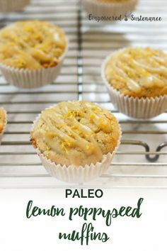 You won't miss the gluten or refined sugar in these vibrant Paleo Lemon Poppyseed Muffins, that are refined sugar free, gluten-free, dairy free and nut free. This muffin recipe uses grain free cassava flour to create a light and fluffy muffin. Paleo Muffin Recipes, Gluten Free Recipes For Breakfast, Snack Recipes, Dinner Recipes, Nut Free, Dairy Free, Grain Free, Cassava Flour Recipes, Cassava Recipe