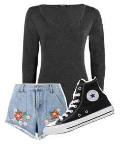 """Untitled #1"" by hazelisaac ❤ liked on Polyvore featuring Boohoo, House of Holland and Converse"