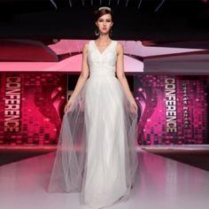 A-line V-Neck Empire Floor-length Beaded White Evening Dress