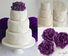 Lace wedding cake with fuchsia purple roses by Sugar Ruffles, via Flickr