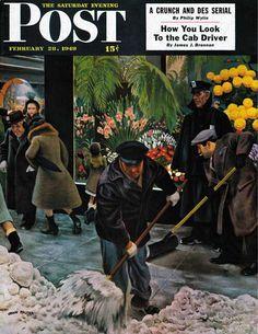 Shoveling Floral Shop Sidewalk. Saturday Evening Post, February 28, 1948 (John Falter)