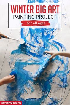 Love this creative, community approach to art for kids! Perfect for a party, preschool or today! Love this creative, community approach to art for kids! Perfect for a party, preschool or today! Art Activities For Toddlers, Preschool Art Projects, Easy Art Projects, Projects For Kids, Sensory Activities, Winter Crafts For Kids, Art For Kids, Preschool Winter, Winter Art