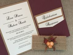 Burgundy Autumn Wedding Invitation Suite with por URinvitedus