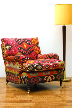 Kilim Is Used To Cover A George Smith Signature Standard Arm Loose Cushion  Back Chair #