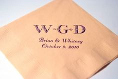100 Personalized monogram beverage napkins wedding favors bridal shower baby shower custom printed