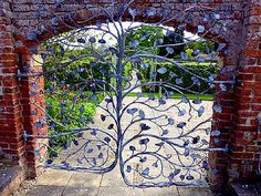 Ginkgo garden gate in Wales, UK     Lovely Ginkgo gate at Glansevern Hall Gardens, located on the banks of the River Severn in Mid Wales, Berriew, Welshpool, Powys, UK.  Local blacksmith, William O'Brien created a set of wrought-iron gates to the Walled Garden, inspired by Glansevern's Ginkgo trees.  From Cor Kwant Ginkgo Pages