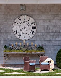 I like the grandure of the alter outdoors. Compare the scale to the clock to the chairs....Big impact!!