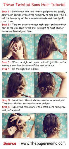 Three Twisted Buns Hair Tutorial