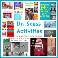 More great ideas of activities matched to Dr. Seuss books compiled by The Educators' Spin on It. #DrSeuss