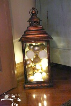 : Ornament Filled Lantern with Christmas Lights
