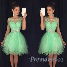Cute beaded green organza short prom dress for teens, homecoming dress 2017