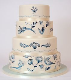 Porcelain themed wedding cake from Charm City Cakes #weddings #cakes