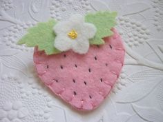Strawberry Brooch Pink Felt Flower Felted