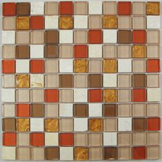 Red and Golden Glass and Stone Mosaic Tile for Bathroom, Kitchen, Backsplash - possible for kitchen and/or bathroom