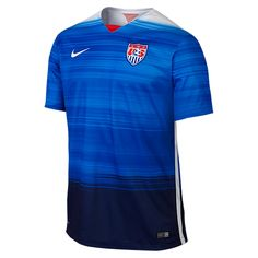 Nike USA Men's Away Jersey Blue/White/Red The 2015 U. Stadium Away Men's Soccer Jersey is made with breathable Dri-FIT fabric for lightweight comfort. Soccer Gear, Us Soccer, Nike Soccer, Soccer Jerseys, Soccer Clothes, Soccer Uniforms, Soccer Kits, Team Wear, Sport Wear