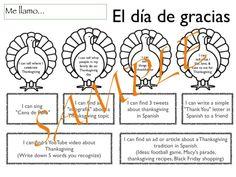 Día de Acción de Gracias - Thanksgiving ideas for SP class