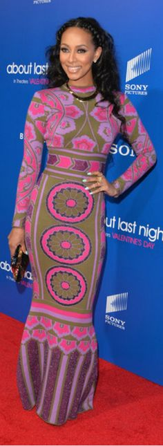 Keri Hilson In EKATERINA KUKAREVA FALL 2013 long sleeve printed bodycon dress