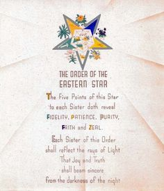 Antique Order of the Eastern Star poem print ring art poster OES Masonic in Collectibles | eBay