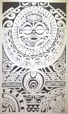 Dessin de Tatouage Polynésien avec un Soleil Tête de Tiki présidant la pièce au centre