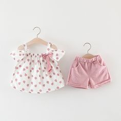 Toddler Girls Fruit Print Bow Top and Shorts Set Baby Outfits Newborn, Toddler Outfits, Toddler Girls, Kids Outfits, Cute Baby Dresses, Foster Baby, Baby Dress Design, Fruit Print, Bow Tops