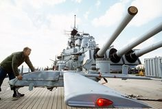 Positioning a Pioneer RPV drone on USS Wisconsin (BB-64) - USS Wisconsin (BB-64) - Wikipedia, the free encyclopedia