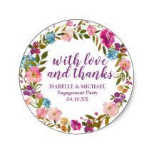 Personalized Purple Floral Engagement Party Classic Round Sticker